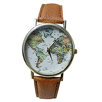 Buy yellow chimes world map brown strap analog unisex watch for yellow chimes world map brown strap analog unisex watch for girls and boys gumiabroncs Images