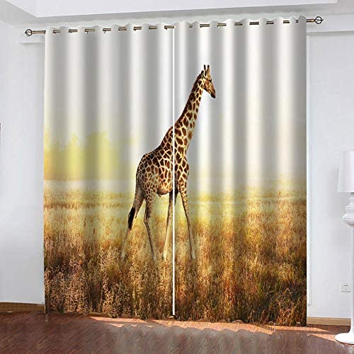 ZFSZSD Tenda Oscurante Oscurante BambiniGiallo e Giraffa Termica Isolante in Tessuto Oxford per Casa con Occhielli Dimensioni:2xL75xA1166cm