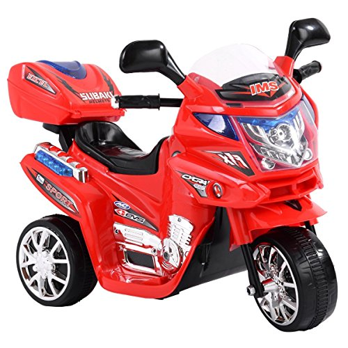 Price comparison product image LAZYMOON 3 Wheels Kids Ride on Toy Motorcycle 6V Battery Powdered Electric Bicycle Gift for Child, Red