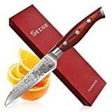 Sedge Paring Knife - Japanese Damascus AUS-10V High Carbon Steel - Peeling Knife 4 Inch - with Non-Slip Ergonomic G10 Handle with Case - SD-S Series