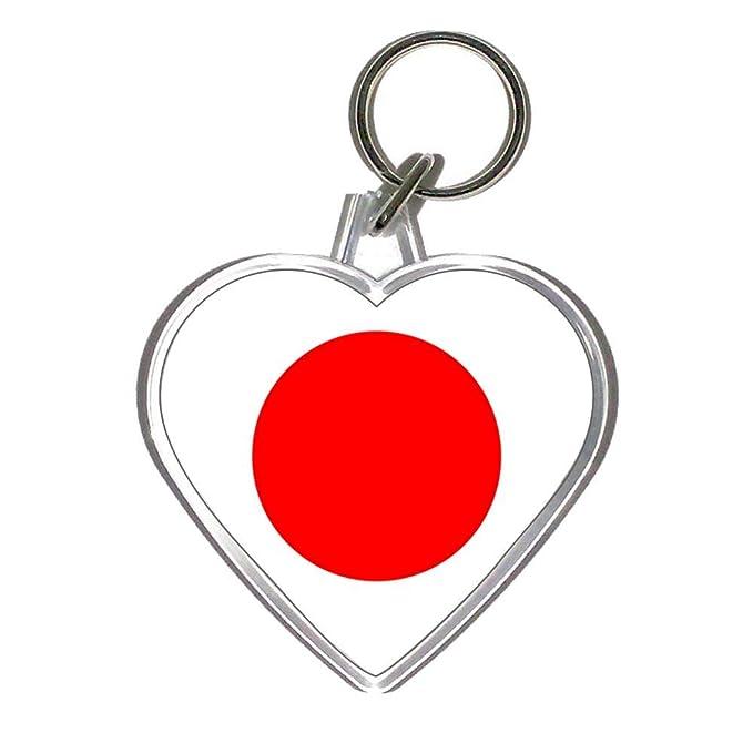Amazon.com: Bandera de Japón – Llavero de plástico en forma ...