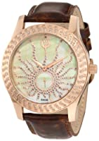 Brillier Women's 03-32325-08 Kalypso Rose-Tone Brown Leather Watch by Brillier