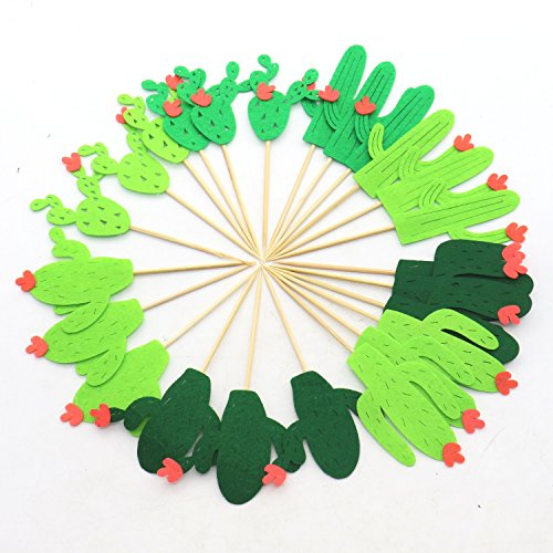 Rugjut Set of 24 Cactus Cupcake Toppers for festive party theme birthday baby shower spring summer -