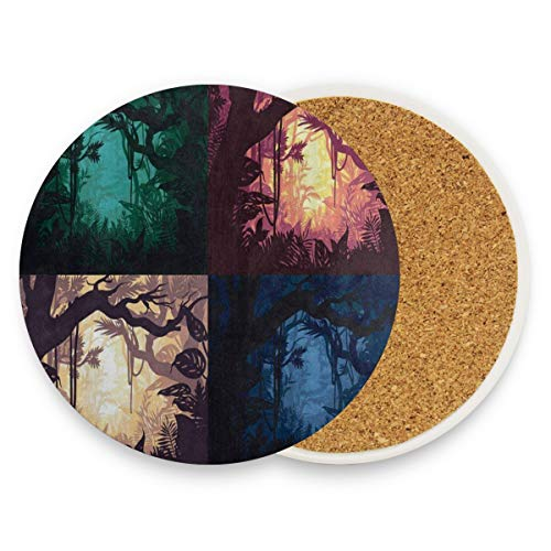SLHFPX Beautiful Jungle Landscape Halloween Coasters, Protect Your Furniture from Stains,Coffee, Drink Coasters Funny Housewarming Gift,Round Cup Mat Pad for Home, Kitchen or Bar