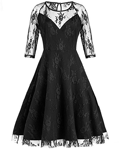 Tempt me Sexy Vintage Floral Lace 3/4 Sleeve Cocktail A-Line Formal Dress For Women Large