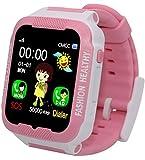 Kids Smart Watch GPS Tracker Anti-Lost SOS Remote Wrist Watches for Children Girls Boys Pink