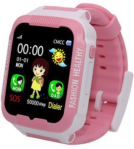 (Kids Smart Watch GPS Tracker Anti-Lost SOS Remote Wrist Watches for Children Girls Boys Pink)