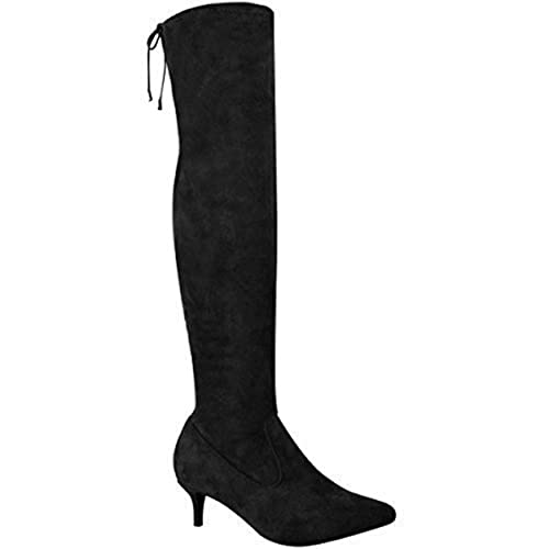 cheap prices quality release date: Fashion Thirsty Womens Ladies Low Kitten Heel Thigh Knee High Boots Pointed  Stretchy Shoes Size