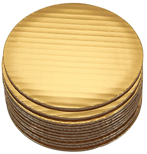 Cake Boards - 12-Piece Cardboard Round Cake Circle Base, 6 Inches Diameter, Gold (6 Base Plate Inch)