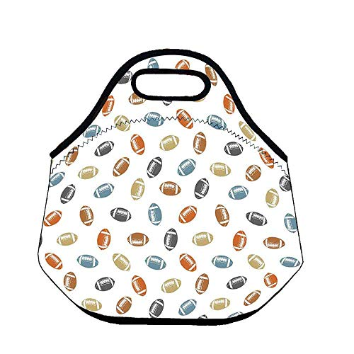 Football Large Capacity Neoprene Lunch Bag,Colorful Balls in Retro Style National Sports College Team Field Game Touchdown for Adults Men Women Nurses,Throw(11.8''L x 6.3''W x 11''H)