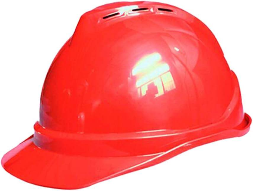 Yloty Casco de Seguridad Industrial de ABS, Casco de Trabajador de construcción ventilado Tipo V con Correa para la Barbilla y Banda para el Sudor, tamaño de Casco Ajustable Red: Amazon.es: Hogar