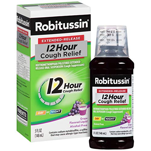 Robitussin Extended-Release 12 Hour Cough Relief (5 fl. oz. Bottle, Grape Flavor), Alcohol-Free Cough Suppressant (Best Daytime Cough Suppressant)