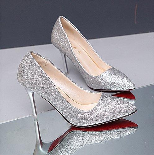 Lentejuelas Zapatos High Super Heels 34 Fun Altos Sexy Nvxie De Tamaño Silver Gran Tacones Nightclubs 38 qa1PIwxd