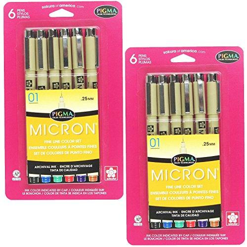 Sakura 30063 6-Piece Pigma Micron Assorted Colors 01 Ink Pen Set (2-PACKS)