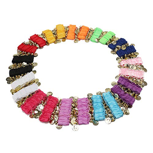 Cosics Kids Girls Sequins Ankle Arm Cuffs Bracelets for Belly Dancing, 12 Pairs Multicolor Elastic Golden Coins Hand Decor for Dance Costumes Halloween Outfits -