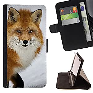 - Queen Pattern FOR Samsung Galaxy S4 IV I9500 /La identificaci????n del cr????dito ranuras para tarjetas tir????n de la caja Cartera de cuero cubie - red fox clever animal winter
