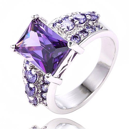 (Size 8 Noble Silver Plated Crystal Purple Zircon Ring Solitaire W/ Accents)