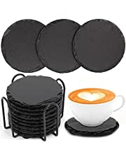 9 Pieces Slate Drink Coasters, VFINE Handmade Round Slate Stone Coaster for Bar Kitchen Home Decor, 4 Inches in Diameter, Black