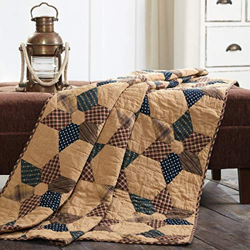VHC Brands Patriotic Patch Star Quilted Throw 60x50 ()