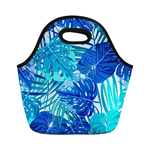 Semtomn Neoprene Lunch Tote Bag Green Pattern of Leaves Monstera Tropical Palm Tree Leaf Reusable Cooler Bags Insulated Thermal Picnic Handbag for Travel,School,Outdoors, Work