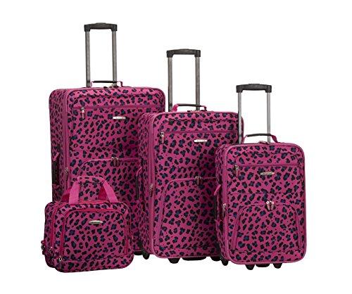 Fox Rockland 4 Piece Luggage Set, Magenta Leopard, One Size