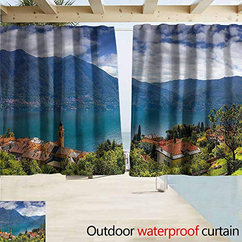 Window Curtains Modern Mountain Village on Hills Energy Efficient, Darkening W55x39L Inches ()