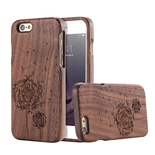 For Apple iPhone 6 Plus & iPhone 6s Plus 5.5 inch Case, FLOVEME [Wooden Engraving Pattern] Premium Handmade Real Natural Wood Hard Bamboo Shockproof Slim Cover Holder - Black Walnut (Dandelion) - Iphone 6 Wood Case Dandelion