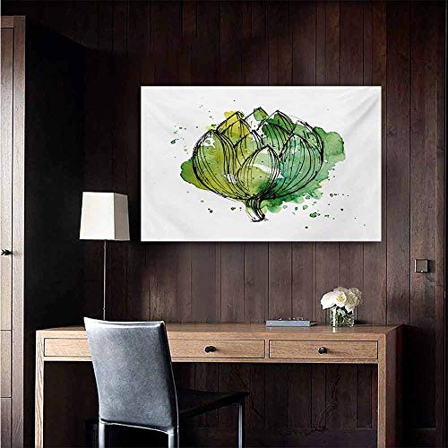 (duommhome Artichoke Abstract Painting Abstract Style Cardunculus Drawn by Hand Harvest Vivid Color Natural Art 35