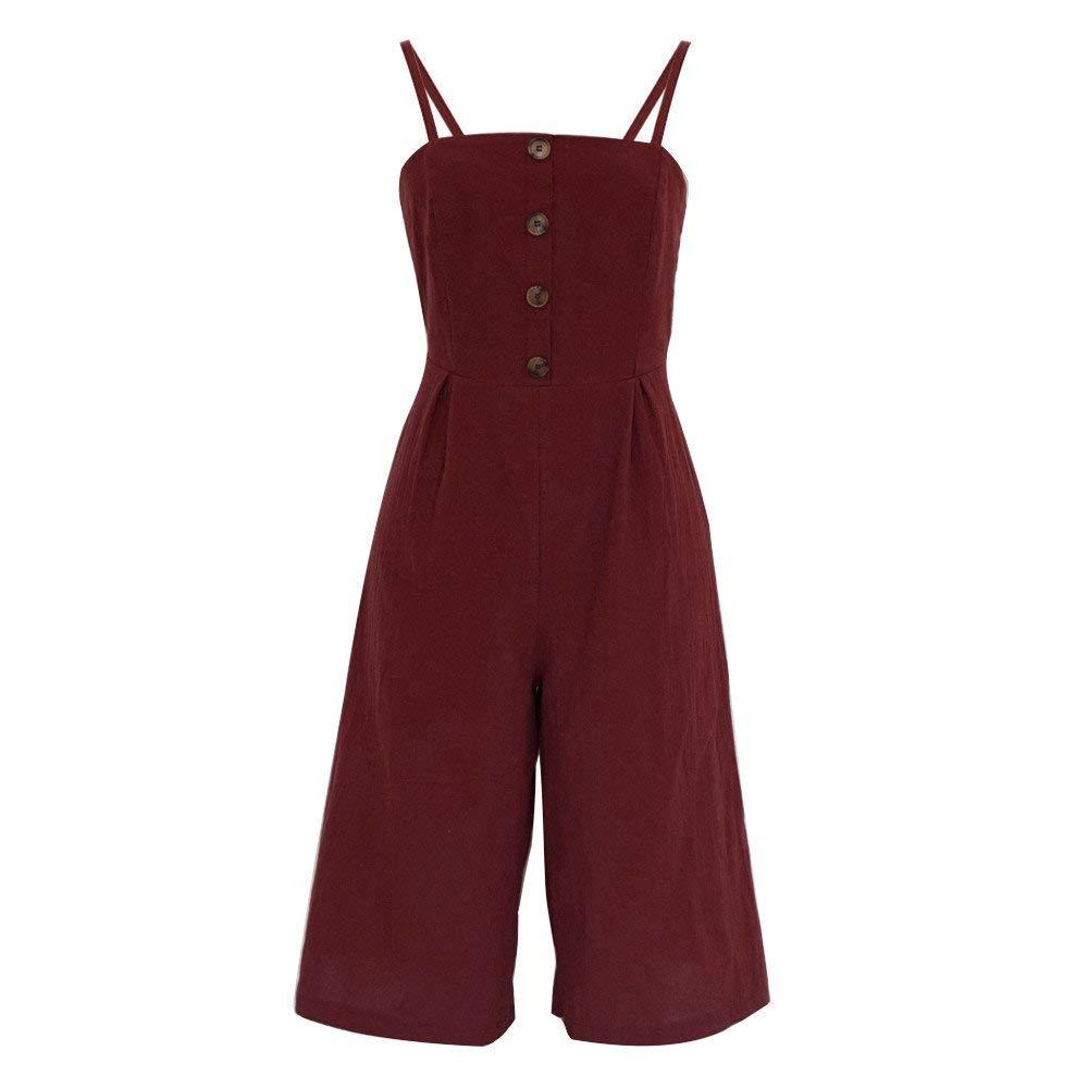 GWshop Ladies Fashion Elegant Jumpsuit Women Jumpsuits Elegant Wide Leg Summer Strappy Soild Button Long Trouser Playsuits Wine S by GWshop (Image #6)
