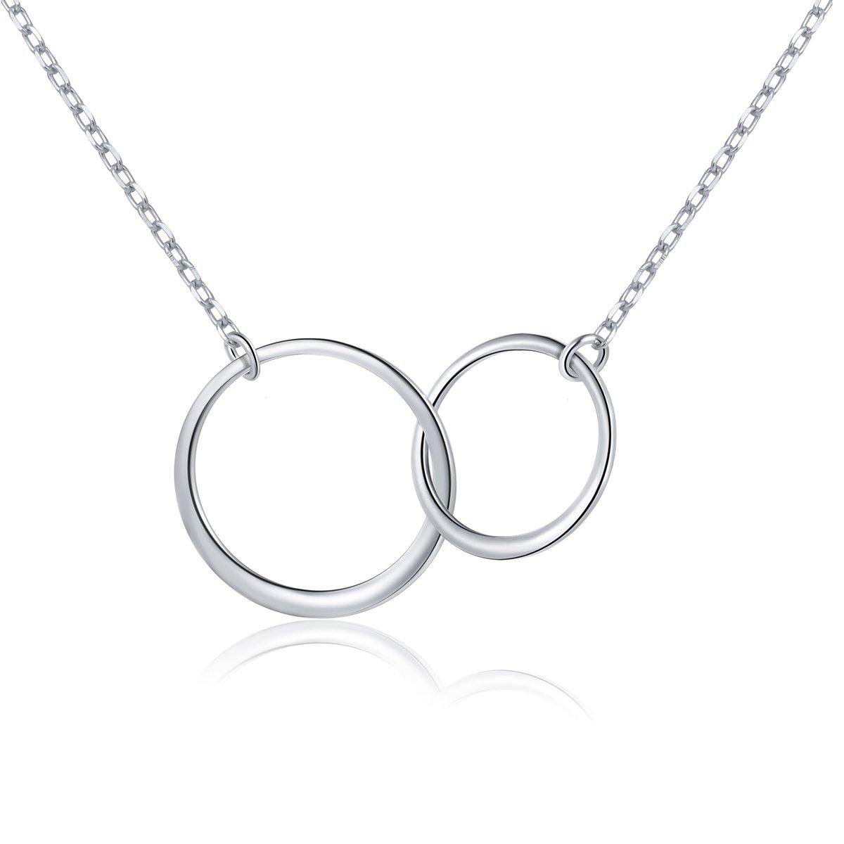 DAOCHONG Sterling Silber Zwei Ineinander Greifen Unendlichkeit Kreise Halskette Schmuck,Rolo Kette, 18+2 18+2 DAOCHONG Fine Jewelry Y-19