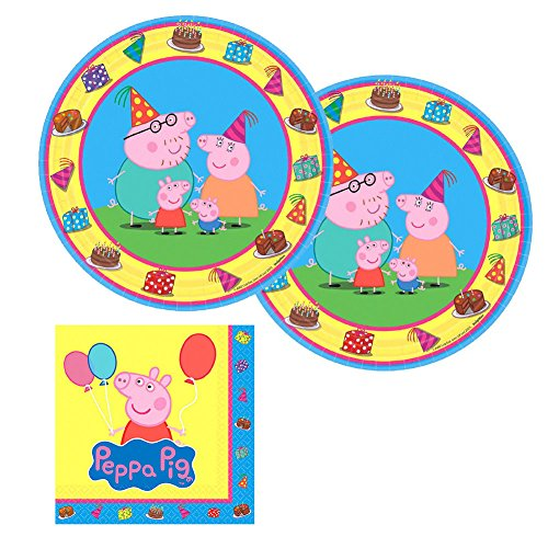 Peppa Pig Party Supplies Pack for 16 Guests Includes: 16 Dessert Plates and 16 Beverage Napkins ()