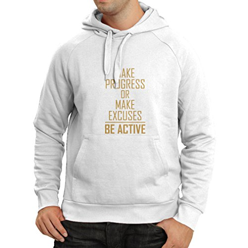 Lepni Me Hoodie  Be Active   Living With No Excuses   Motivational   Daily Inspirational Quotes For Success  Small White Gold