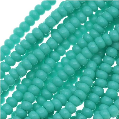 Czech Rocailles Seed Bead 11/0 Opaque (1 Hank Pack) GREEN TURQUOISE 915010 Green Turquoise Beads