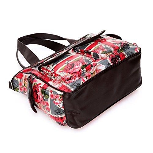 Fumee pañales bolso de pañales de + cambiador de pañales + bolsa de pañales Wet + correas para el carrito + correa de Crossbody rojo rosso rosso
