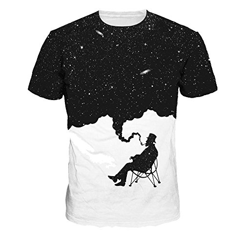 T Tees 3d À Unisexe Courtes Casual Oyabeautye Galaxy Pattern Imprimé shirts Top Manches Smoke PHFEw