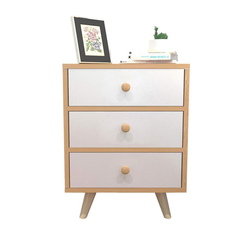 ZXL Beistelltisch Nachttisch Für Schlafzimmer Wohnzimmer Nachttische Nachttisch Mit 3 Schubladen Modernen Minimalistischen (Farbe: Kiefer Farbe)