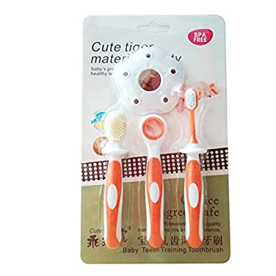 Fashionwu 4 Pcs Baby Silicone Teethers Kids Toothbrushes Tongue Cleaning Dental Care Set Orange: Beauty