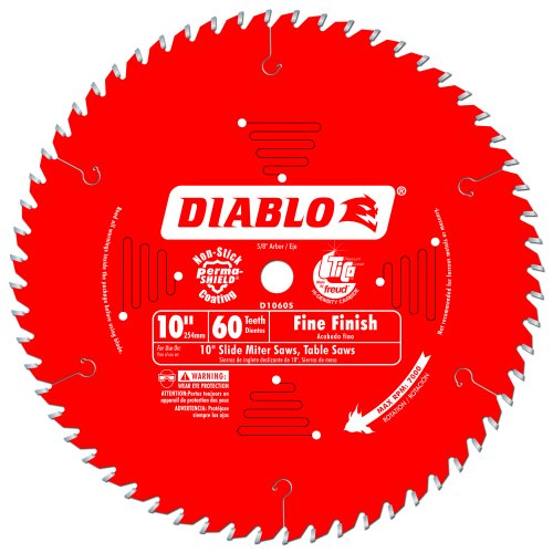 Freud D1060S Diablo 10-Inch 60 Tooth ATB Crosscutting Miter Saw Blade with 5/8-Inch Arbor and PermaShield Coating Pine Veneer Blades