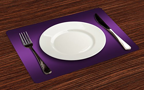 Ambesonne Ombre Place Mats Set of 4, Cinema Curtain Movies Series Inspired Color Ombre Design Digital Artsy Styled Print Image, Washable Fabric Placemats for Dining Room Kitchen Table Decor, Purple