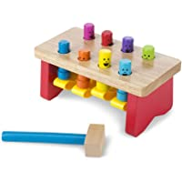Melissa & Doug 4490 Deluxe Pounding Bench Wooden Toy with Mallet, Standard, Multicolor