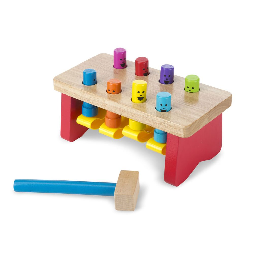 Melissa & Doug Deluxe Pounding Bench Wooden Toy with Mallet, Developmental Toy, Helps Fine Motor Skills, 5.25'' H x 5'' W x 10'' L