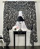 "Waterford Linens Lisette Pole Top Drape Curtain 55 x 84"" Black / Cream"