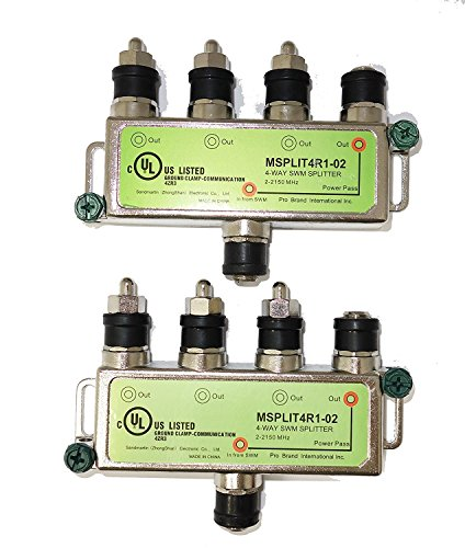 Directv SWM Approved 4-Way Splitter by Pro Brand (2-Pack) ()