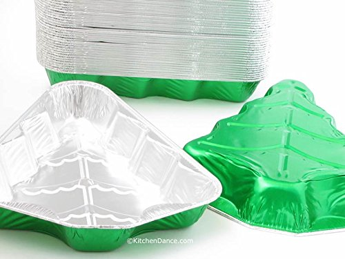 Disposable Aluminum Christmas Tree Cake Pan with Clear Snap on Lid #9501X (25) by Handi-Foil (Image #2)