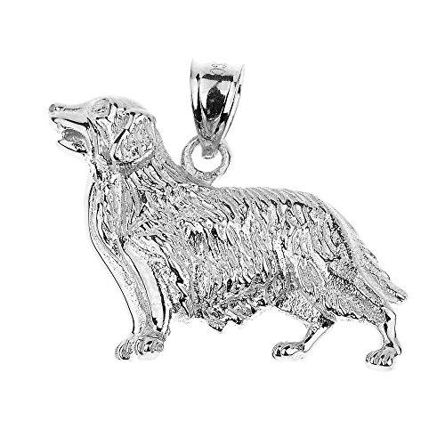 (Polished 925 Sterling Silver Golden Retriever Dog Necklace Pendant )