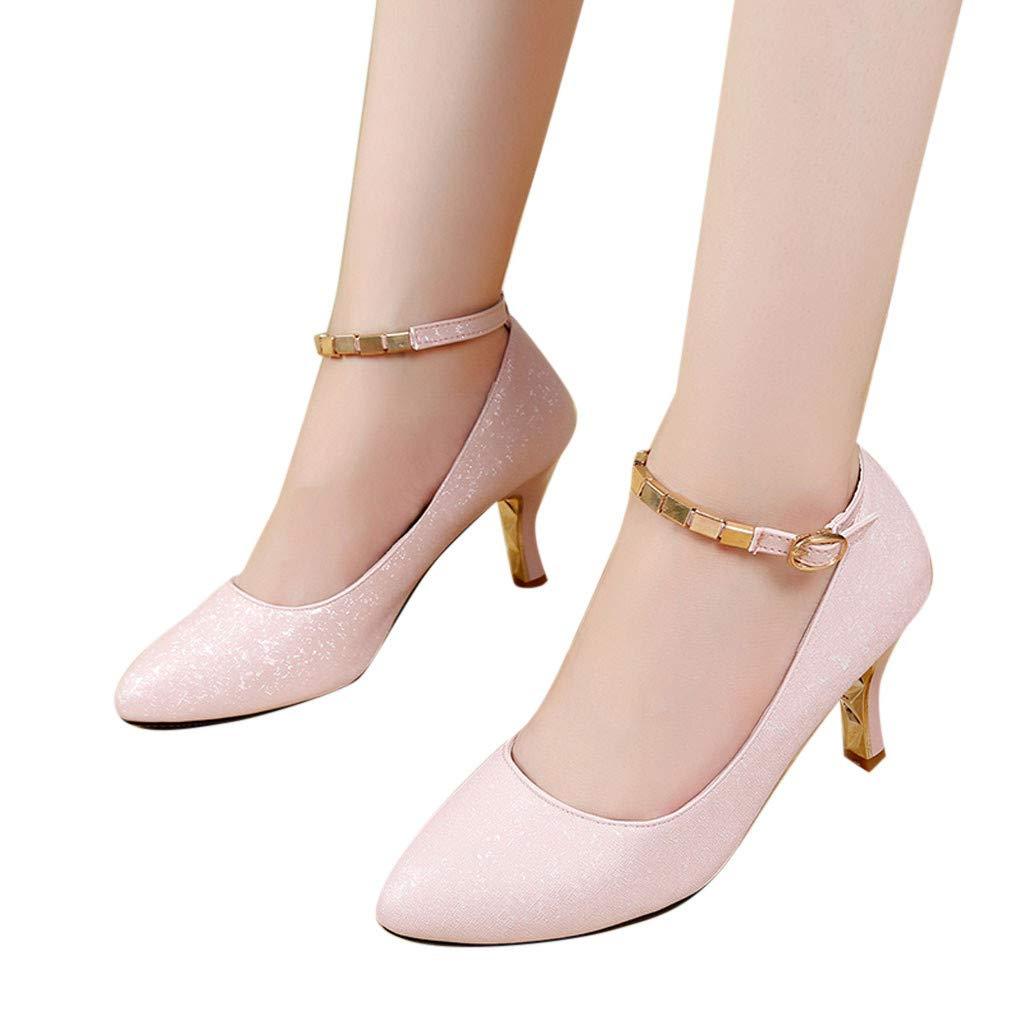 Mymyguoe Damen Mary Jane Halbschuhe hochhackige Schuhe mit Spulen-Ferse d/ünne Fersenschuhe Pumps Brautschuhe Frauen Spitze Feine Ferse Einem Knopf schnallen Damenschuhe Abend Schuhe Hochzeit Schuhe