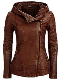 ACHICGIRL Women's Fashion Oblique Zipper PU Leather Hooded Jacket