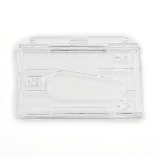 10 pcs plástico rígido negocio insignia claro transparente dispensador de estilo ID titular de la tarjeta Inserte 2 tarjetas vertical horizontal, ...