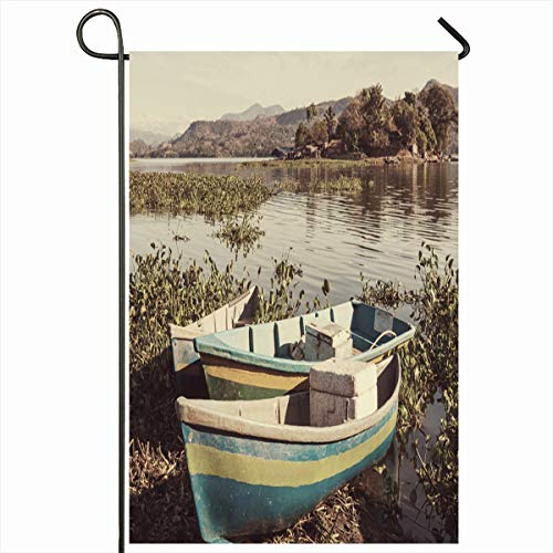 (Ahawoso Garden Flag 12x18 Inches Lago Blue Awesome Boats On Lake El Salvador Central Highland Parks America Green Azure Bay Beach Calm Decorative Seasonal Double Sided Home House Outdoor Yard Sign)