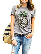 Womens Summer Pineapple Printed Tops Funny Juniors T Shirt Short Sleeve Blouse Tees